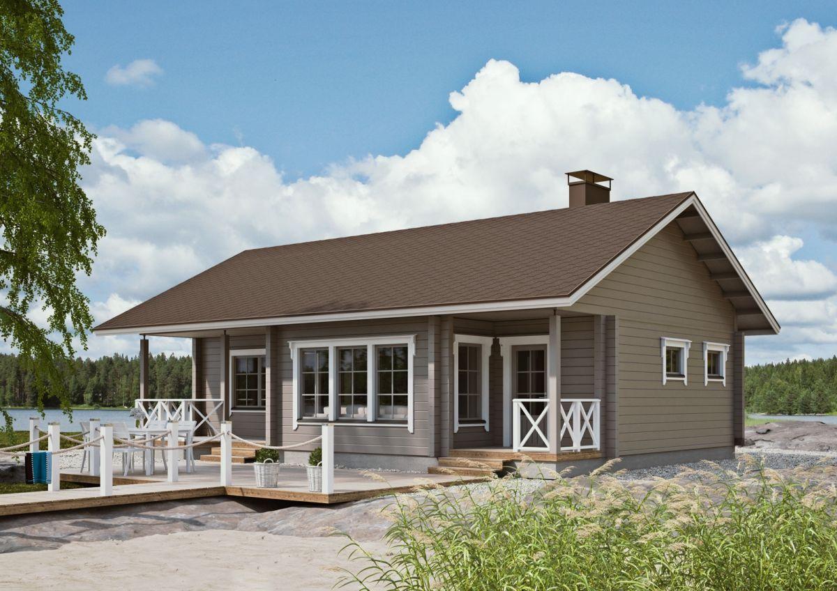 дом с двускатной крышей и террасой фото дне корзинке
